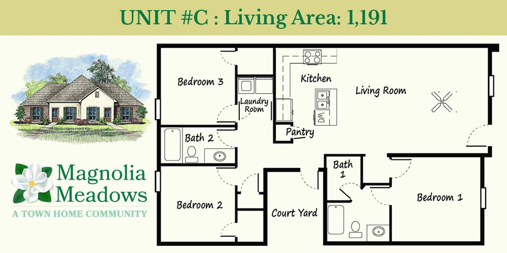 Residence C Style Townhome 1,191 sq ft